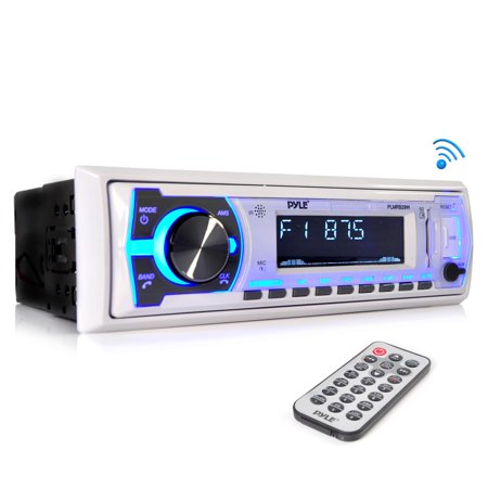 PYLE PLMRB29W - Marine Bluetooth Stereo Radio - 12v Single DIN Style Boat In dash Radio Receiver System with Built-in Mic, Digital LCD, RCA, MP3, USB, SD, AM FM Radio - Remote Control -(White)