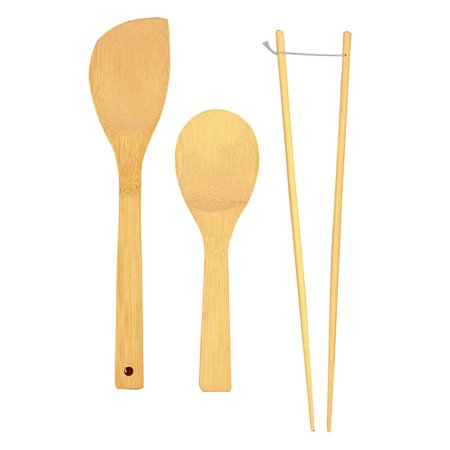 Helens Asian Kitchen Carbon - Helen's Asian Kitchen Bamboo Kitchen Tools Cooking Utensils and Stir Fry Set, 3-Piece Set, Helen's Asian Kitchen Bamboo Kitchen Tools for cooking,.., By Helens Asian Kitchen