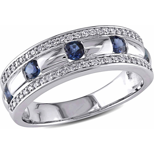 3/4 Carat T.G.W. Sapphire and 1/4 Carat T.W. Diamond 10kt White Gold Anniversary Ring