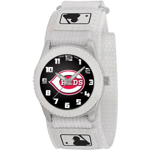 Game Time MLB Kids' Cincinnati Reds Rookie Series Watch, White Velcro Strap