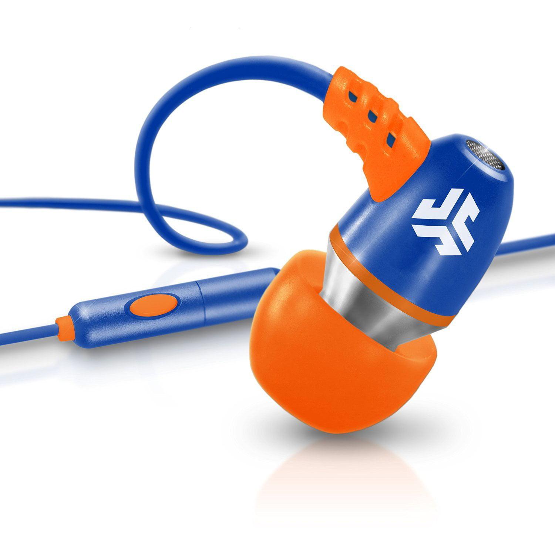 JLab Audio Metal Neon Aluminum Wired Earbuds - Blue / Orange