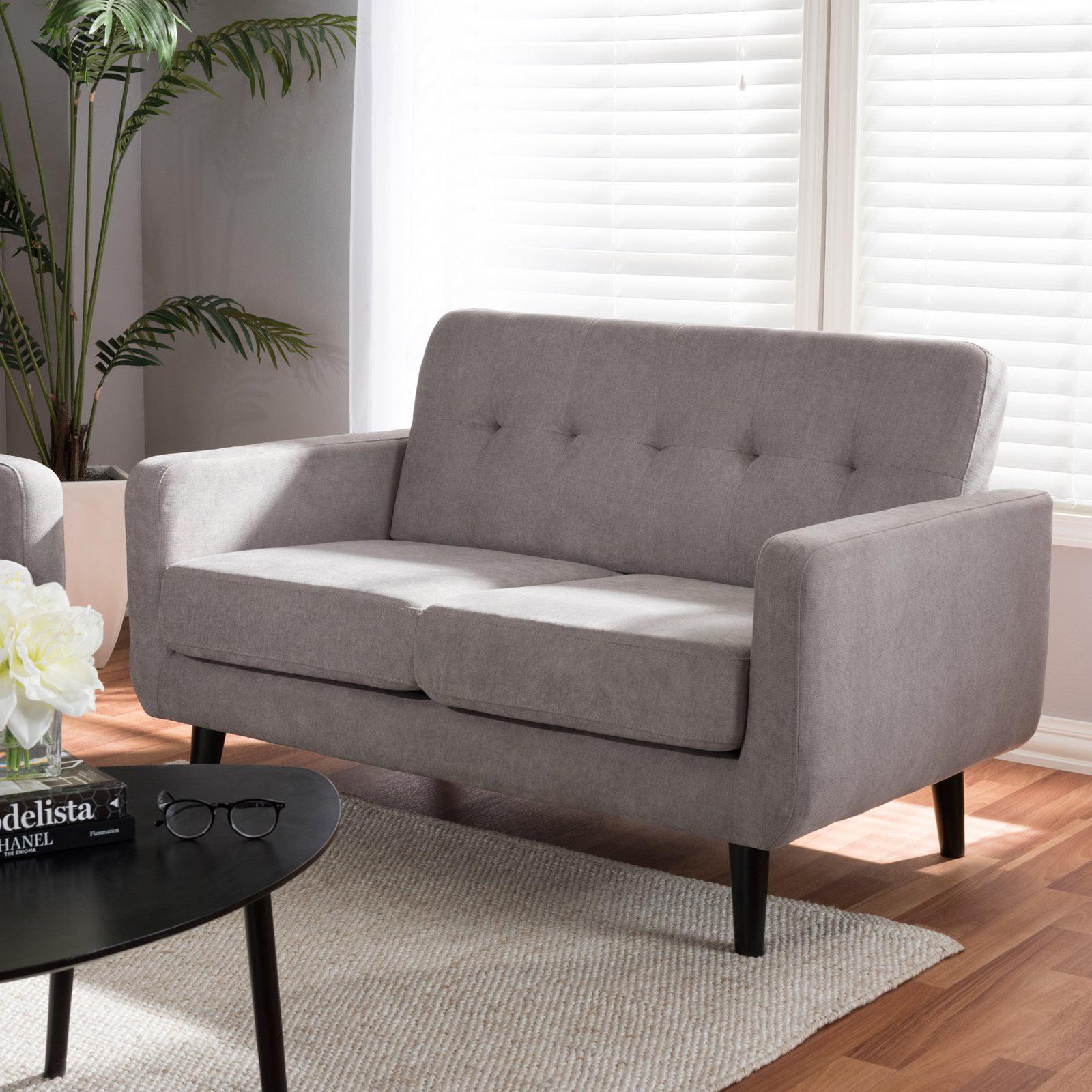 Baxton Studio Carina Mid-Century Modern Light Grey Fabric Upholstered Loveseat
