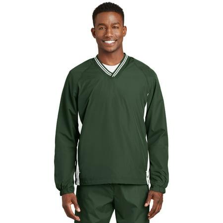 Sport-Tek® Tipped V-Neck Raglan Wind Shirt. Jst62 Forest Green/White 4Xl - image 1 de 1