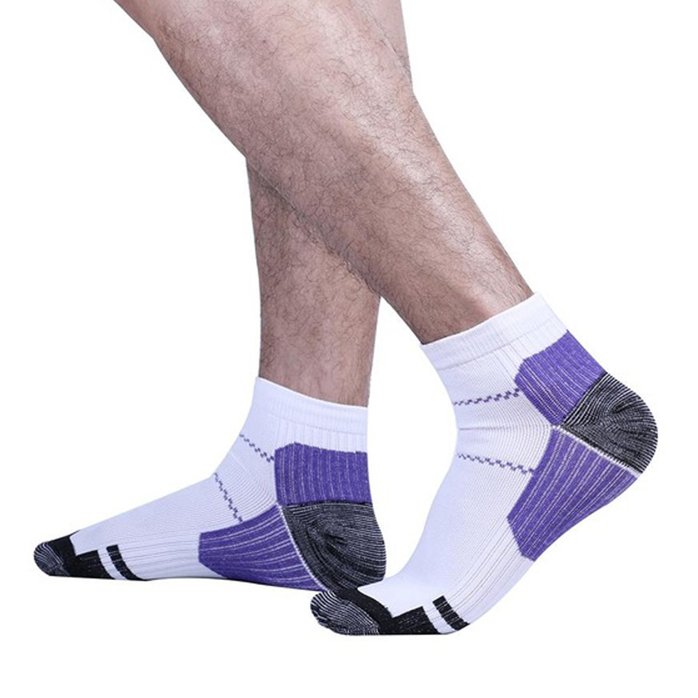 6 Pair Plantar Fasciitis Socks Heel Pain Foot Pain Relief Arch Support Running Gym Compression Foot Socks & Low Cut Foot Sleeves FREE Eyeglass Pouch by Juniper's Secret (White/Blue, S/M)