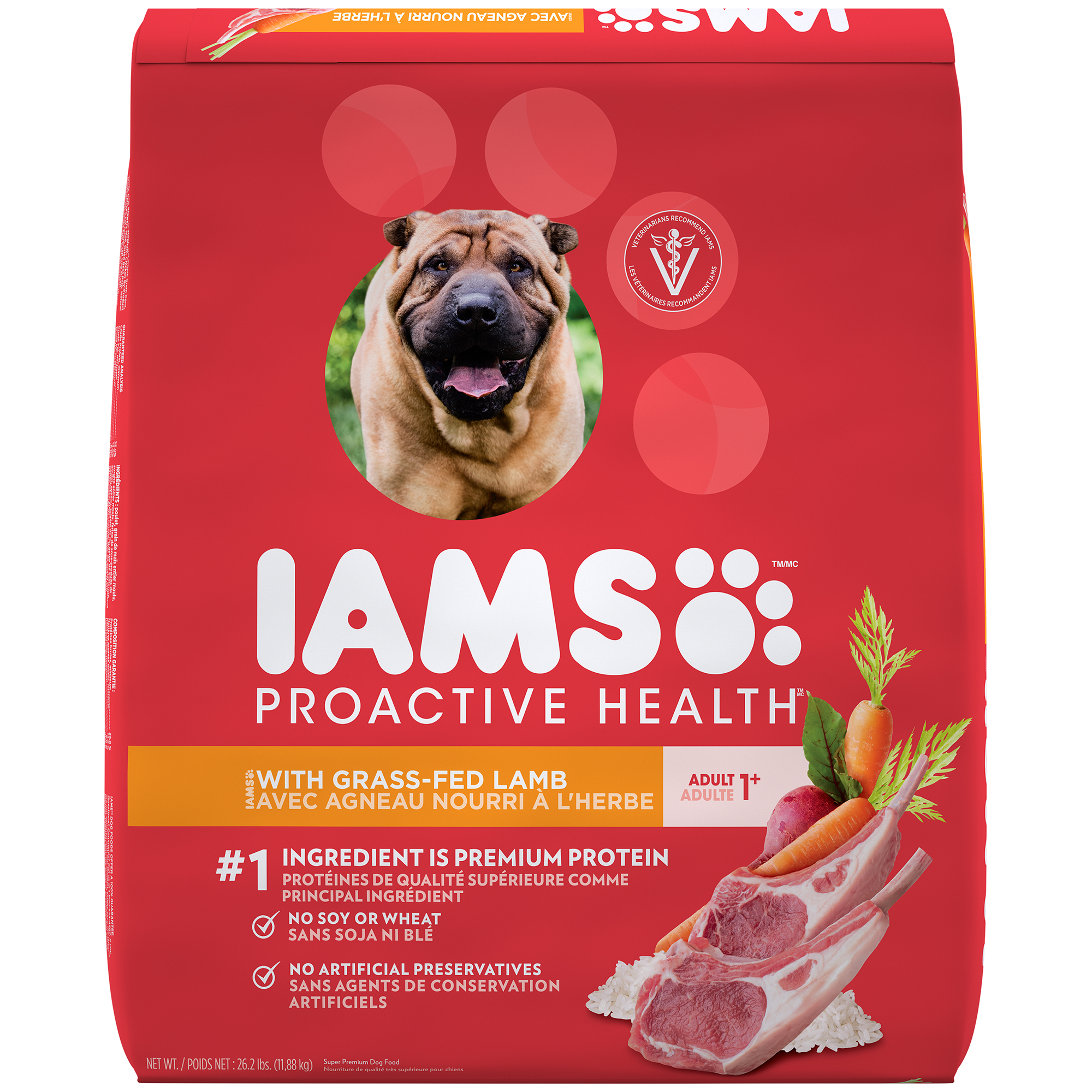 IAMS PROACTIVE HEALTH Adult With Grass-Fed Lamb Dry Dog Food 26.2 Pounds