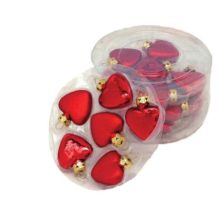 kurt adler mini glass red heart christmas ornament set of 24