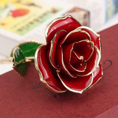 24K Golden Rose Dipped Flower Real Long Stem Valentine's Day Love Gift For Women - image 4 of 5