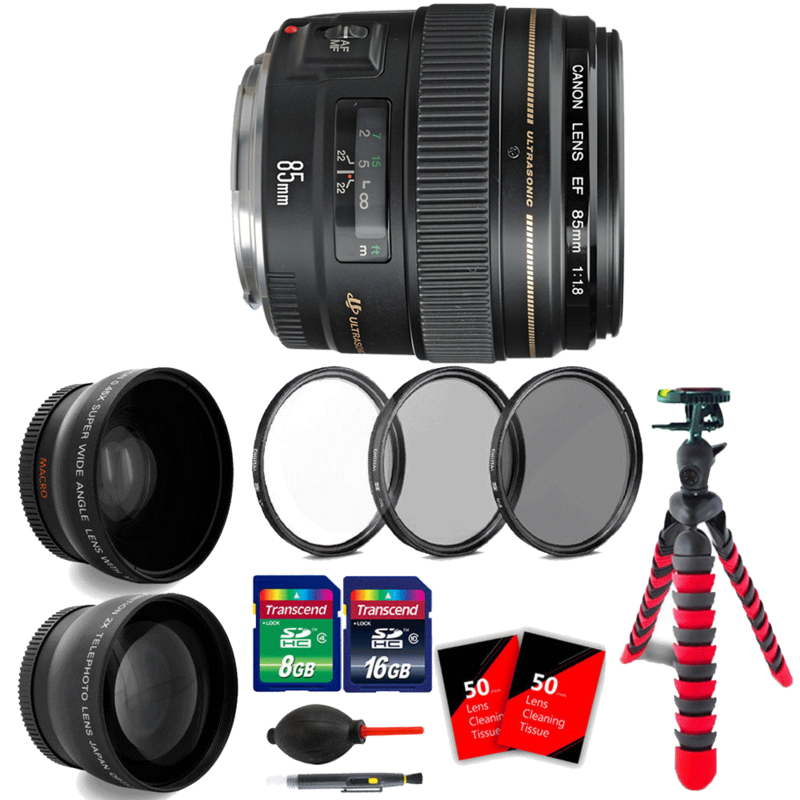 Canon EF 85mm f/1.8 USM Lens with Ultimate Accessories for Canon SLR Cameras