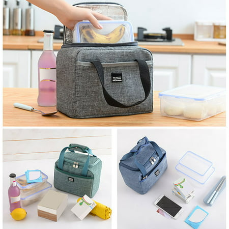 Cool Bag Lunch Box for Kids, Summer Winter Food Insulated Children Kids Adult Boys Girls, Grey