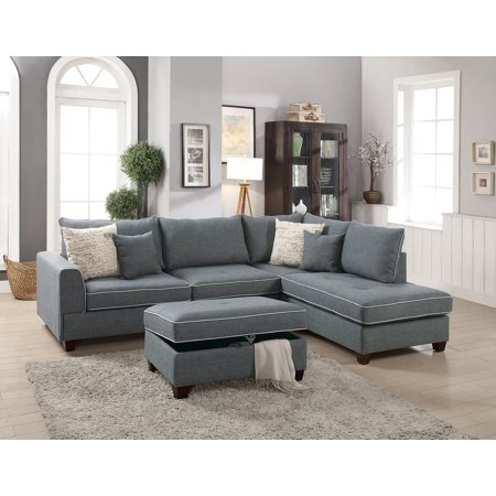 Beautiful Design 3 Piece Sectional Set Steel Color Dorris Fabric Crafted Large Plush Pillows Reversible