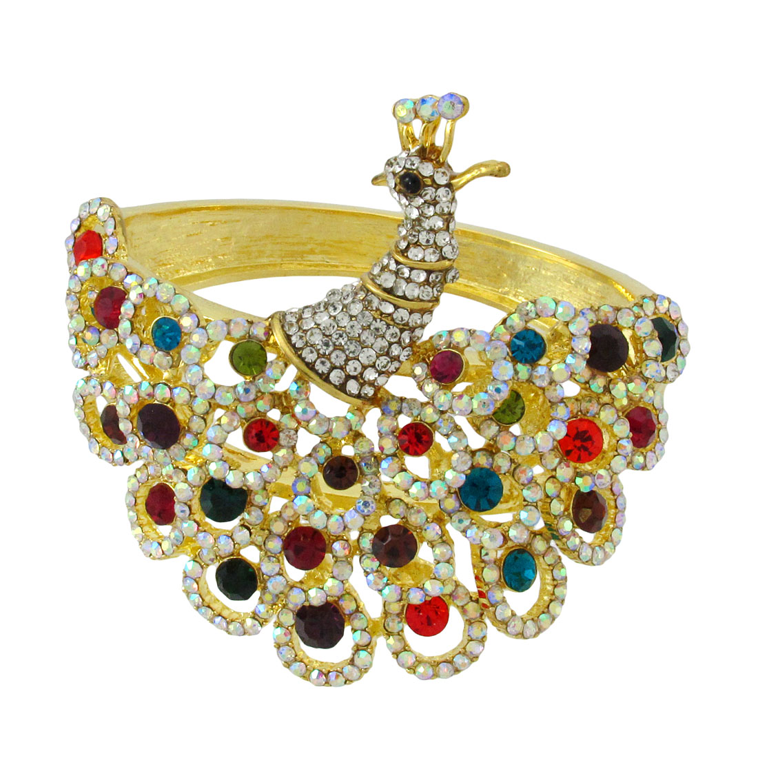 Goldtone Rhinestone Peacock Hinged Bangle Bracelet