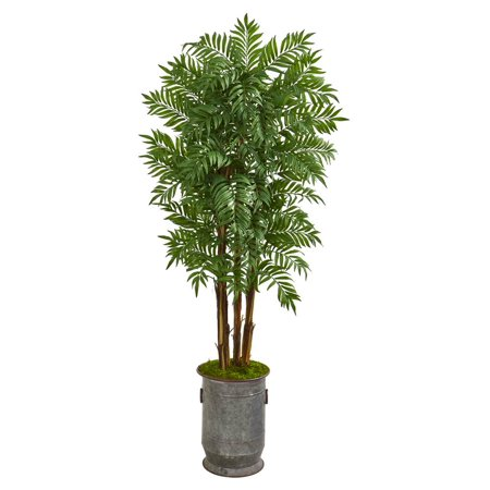 Copper Metal Tree (Nearly Natural 76? Parlour Artificial Palm Tree in Copper Trimmed Metal)