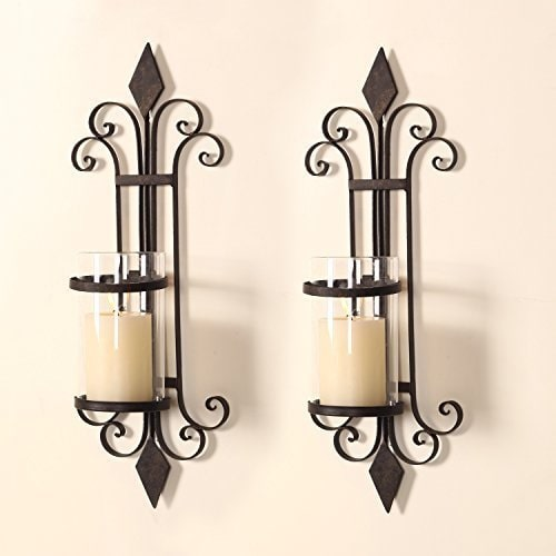 Adeco Iron and Glass Scroll and Diamond Design Single Pillar Vertical Wall Hanging Candle... by Overstock