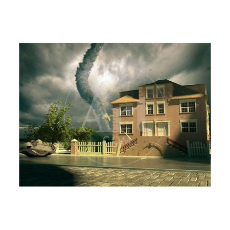 Tornado over the House Print Wall Art By viczast Pink Tornados Art
