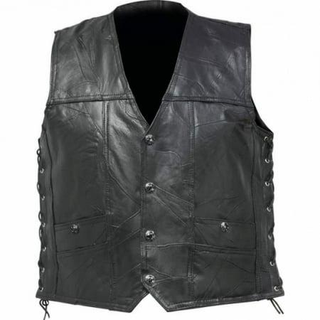 Diamond Plate Rock Design Genuine Buffalo Leather Concealed Carry Vest