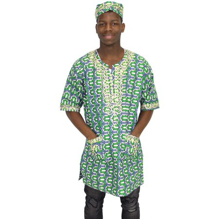 African Planet Men's Short Sleeve Ethnic Kente Top One size fits most