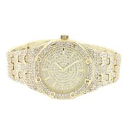 Octagon Style Watch 42mm Full Bling Simulated Diamond Gold Tone Analog Custom Men