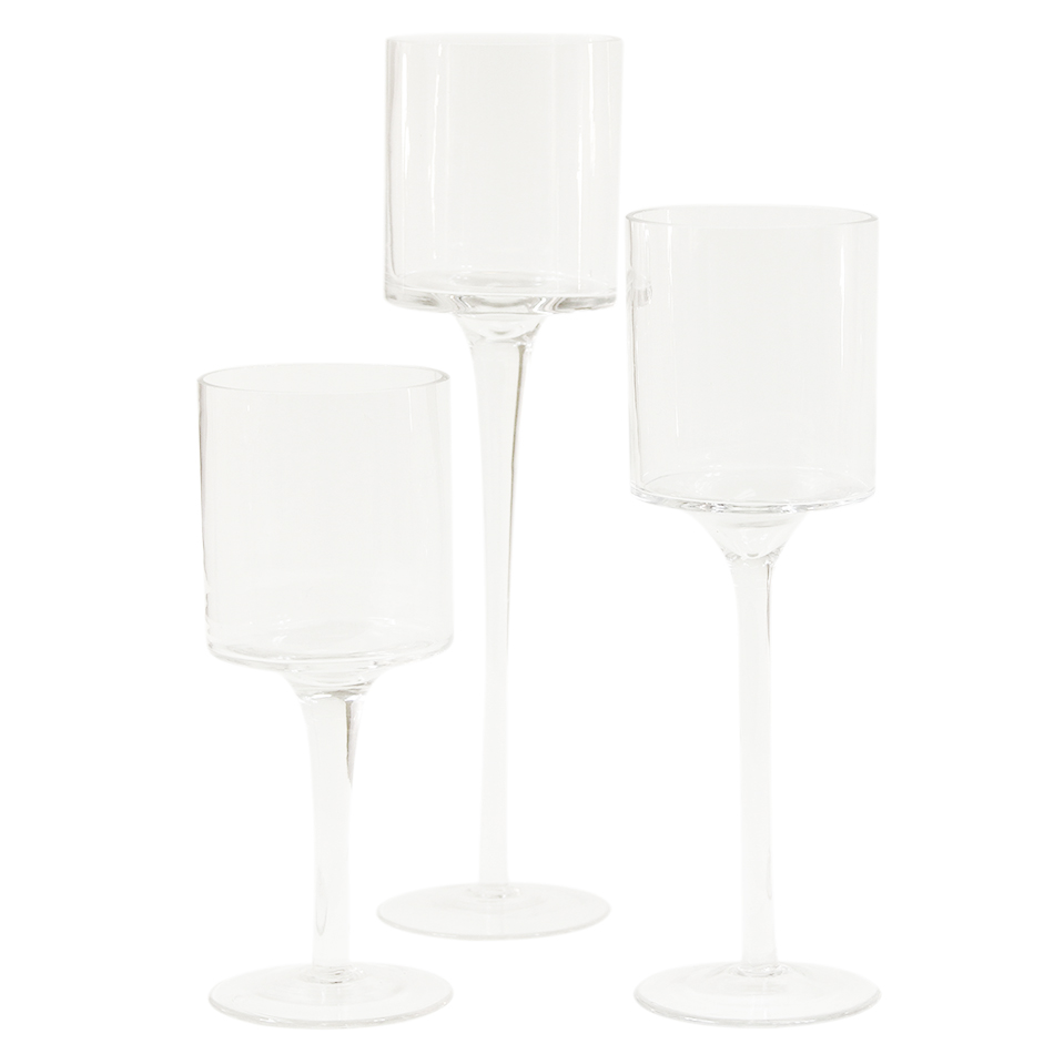 Koyal Long Stem Glass Candle Holder, Set of 3