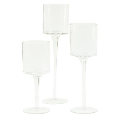 Koyal Long Stem Glass Candle Holder, Set of - Halloween Glass Candle Holders