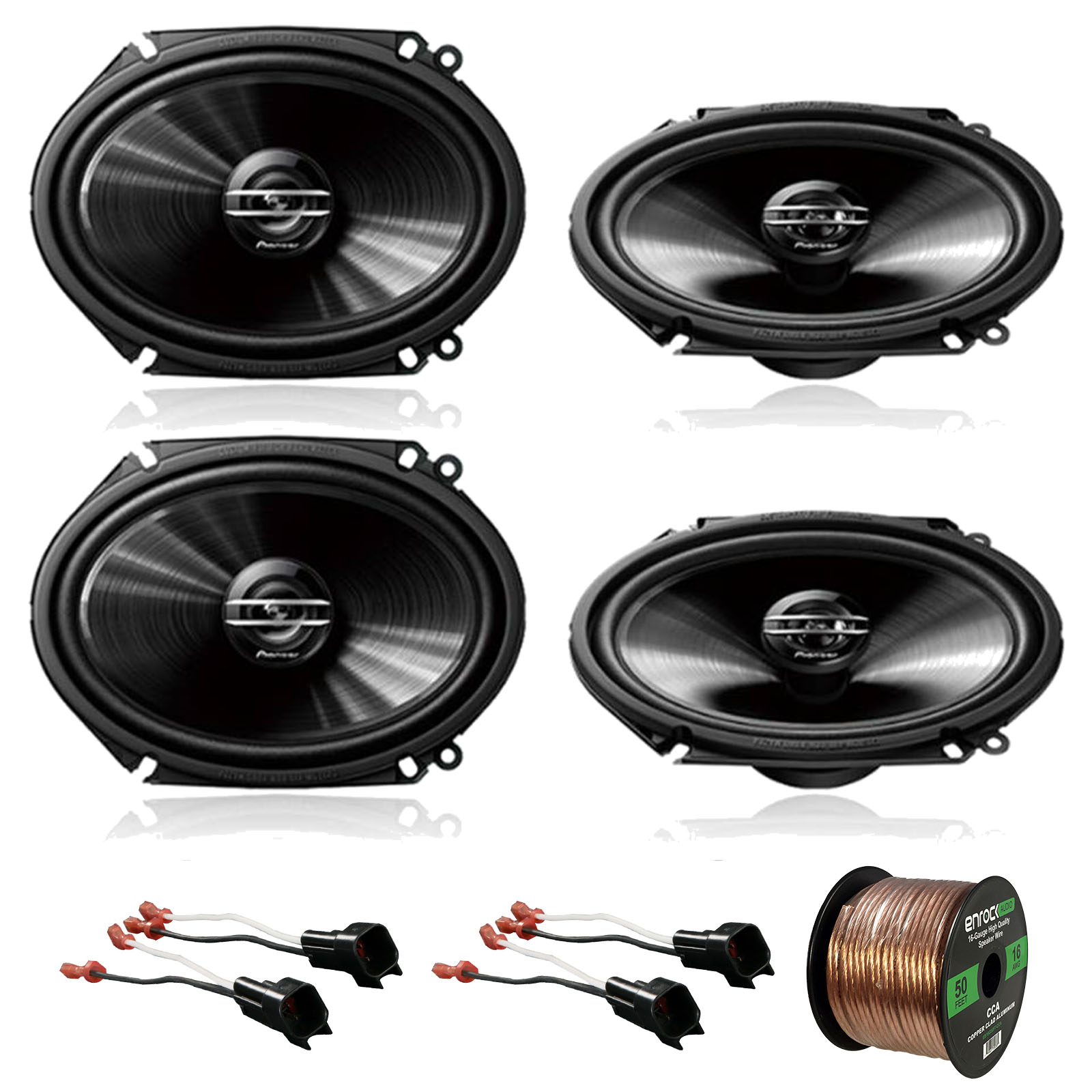 "2 x Pioneer TS-G6820S 250W 6x8"" 2-Way Car Audio Speakers (2 pairs), 2 x Metra 72-5600 Speaker Adapter for Select Ford Vehicles (2 pairs), Enrock Audio 16-Gauge 50 Foot Speaker Wire"
