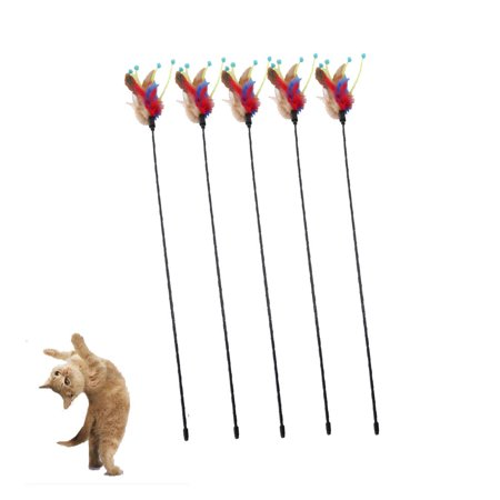 Ktaxon Flower Bud Style Feather Funny Stick Toys For Cat Color Random Delivery