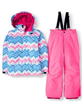 Iceburg Printed Insulated Jacket and Snowsuit/Ski Bib, 2-Piece Set (Big Girls)