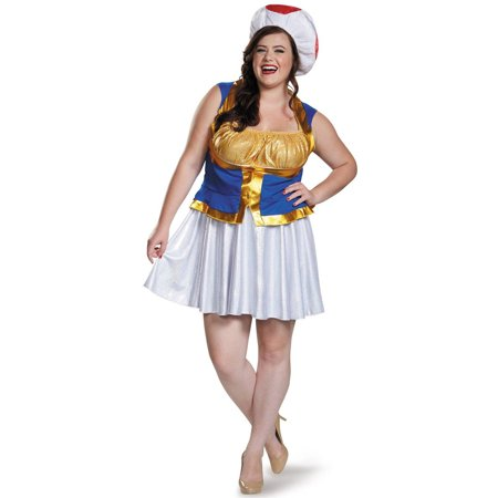 Super Mario Bros. Toad Women's Plus Size Adult Halloween Costume, XL (Cute Mario Bros Halloween)