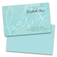 Personalized Blue Watercolor Personalized Baby Shower Invitations