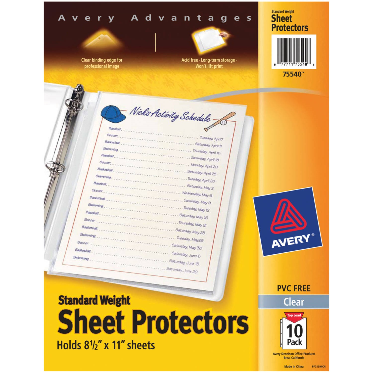 (2 Pack) Avery Standard Weight Sheet Protectors, Pack of 10 (75540)