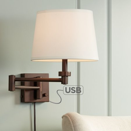 360 Lighting Vero Oil Rubbed Bronze Plug In Swing Arm Wall Lamp With Usb