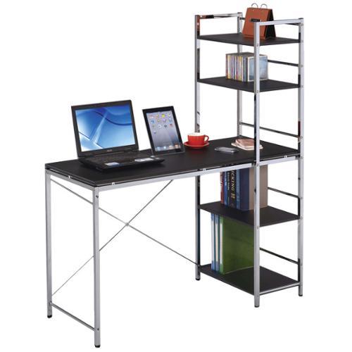 Elvis Black & Chromed Computer Desk with Shelves
