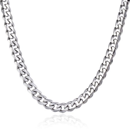 Womens Stainless Steel Chain (Hermah 11mm Silver Tone Stainless Steel Curb Cuban Necklace Mens Womens Chain 18-36inch )
