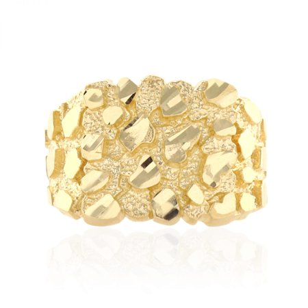 10k Solid Yellow Gold Diamond Cut Nugget Pattern Men's Ring 10k Gold Nugget Ring