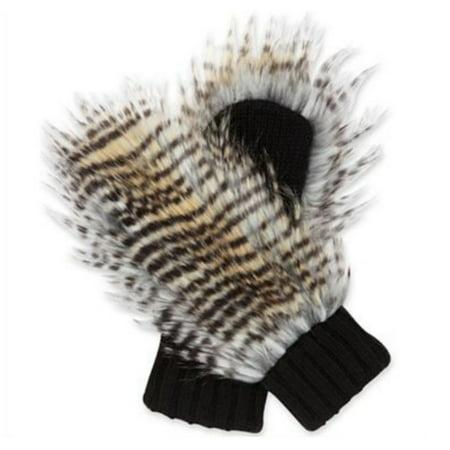 Womens Super Soft Black Acrylic Knit   Long Faux Fur Mittens