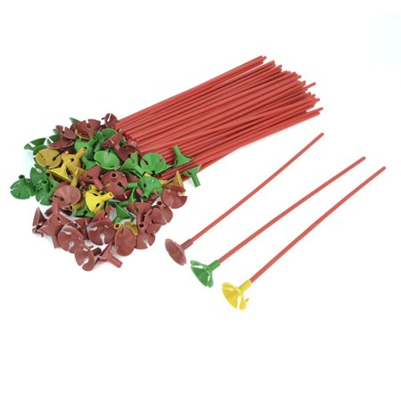 Unique Bargains Party Decoration Red Balloon Sticks w Multicolor Cup Tray 100 Pcs (Balloon Holder Sticks)