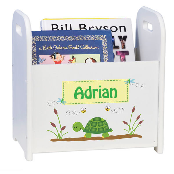 Personalized Turtle White Book Caddy and Rack