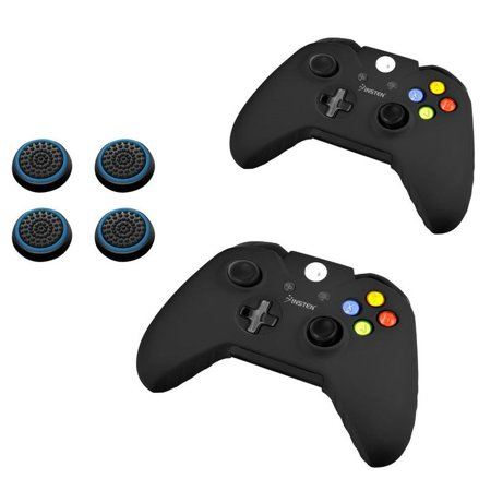 Insten Black Silicone Skin Case (+ 4 pcs Black/Blue Analog Cap Cover) for Microsoft xBox One / xBox One S Controller