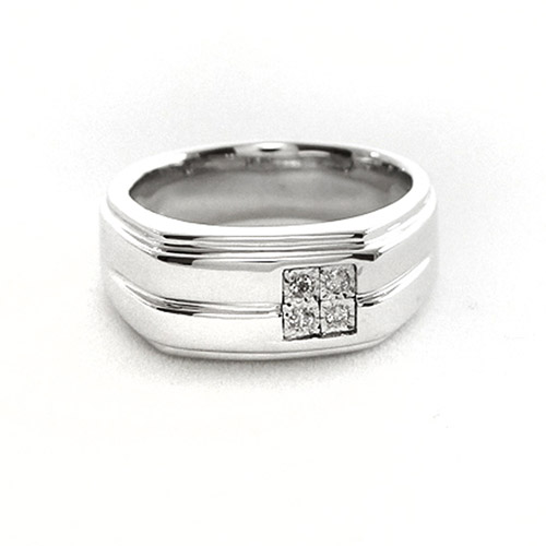 Men's White Diamond Accent Sterling Silver Ring