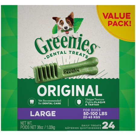 Natural Dental Chews - GREENIES Original Large Dental Dog Treats, 36 oz. Pack (24 Treats)