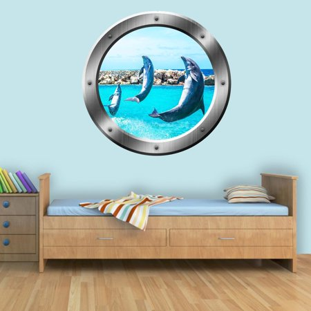 "VWAQ Porpoise Wall Decal Dolphin Porthole 3D Wall Sticker Sea Mammal Decor - SP26 (14"" Diameter)"