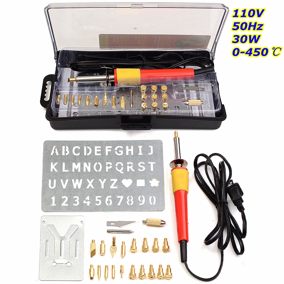 24PCS 110V 30W Wood Burning PYROGRAPHY SET Pen Tips Art Crafts Tools Kit ALPHABET NUMBERS Soldering Tips Tweezer Tool