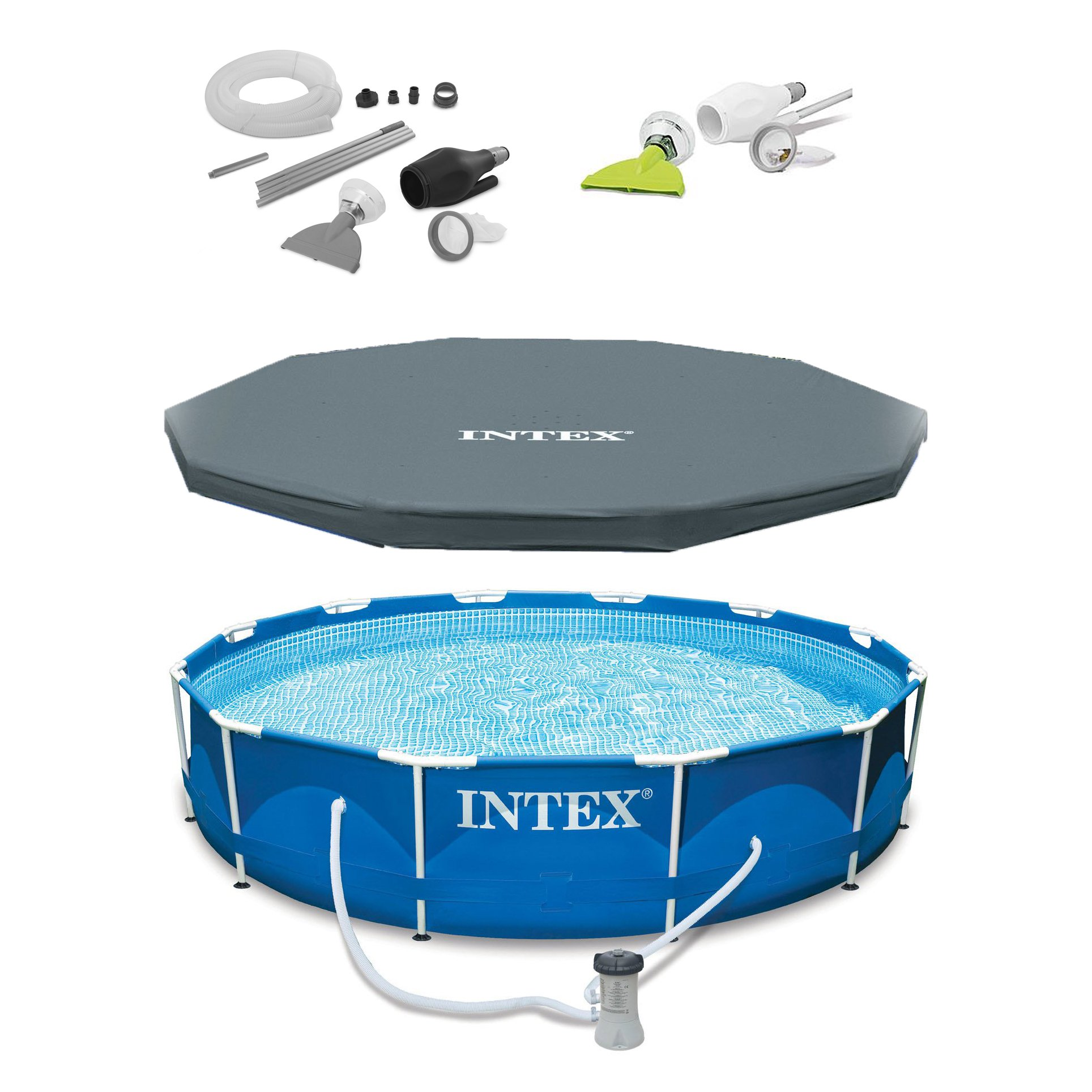 """Intex 12' x 30"""" Metal Frame Set Above Ground Swimming Pool, Filter, Cover, & Vac"""