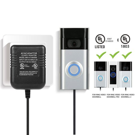 EEEKit Power Adapter, Video Doorbell Power Supply for Ring Video Doorbell 2/Pro, Charging Adaptor Transformer Charger for the Ring Doorbell US Plug 18V/500mA UL Certified (Charging Adapter Us Outlet Plug)