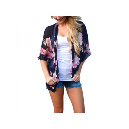 Embroidered Floral Suit (Women Casual Loose Boho Floral Chiffon Kimono Shawl Cardigan)