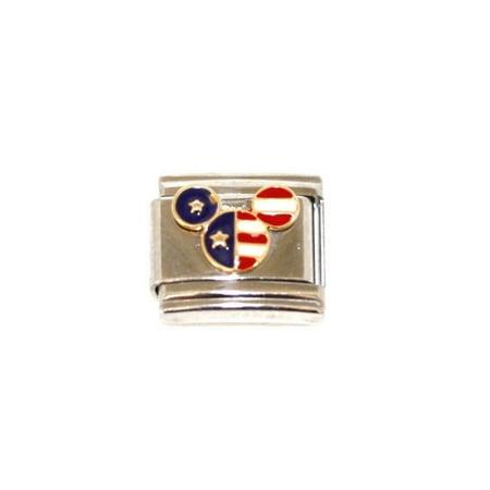 Native American Stainless Steel Bracelet (ITALIAN CHARM WALT DISNEY MICKEY MOUSE AMERICAN FLAG STAINLESS 9MM BRACELET)