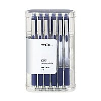 TUL Gel Pens, Retractable, Fine Point, 0.5 mm, Gray Barrel, Blue Ink, Pack Of 12