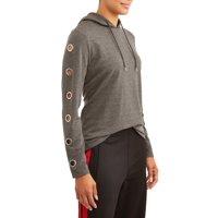 Daisy Fuentes Women's Athleisure Grommet Sleeve Sweatshirt Deals