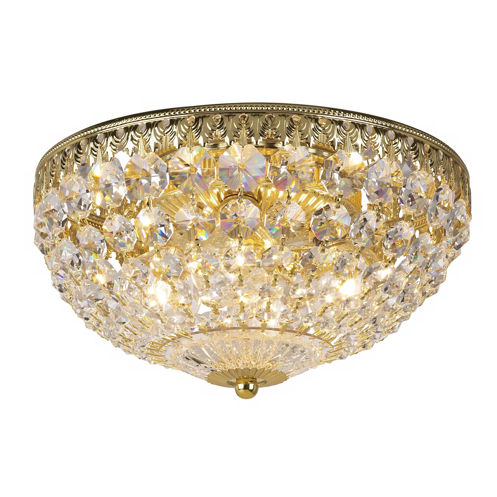"Schonbek 10"" Wide Gold Crystal Flushmount by Schonbek"
