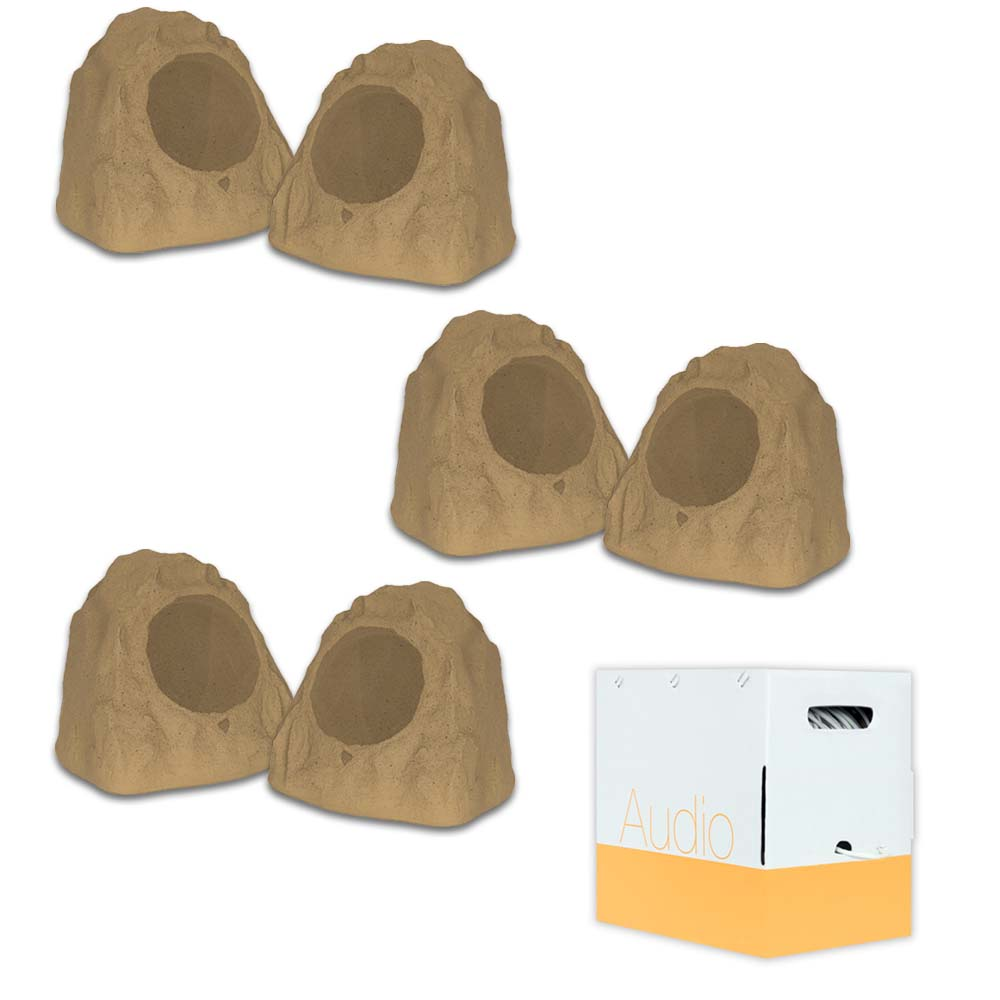 """Theater Solutions 6R8S Outdoor Sandstone 8"""" Rock 6 Speaker Set with Wire for Yard Pool Spa Patio Garden"""