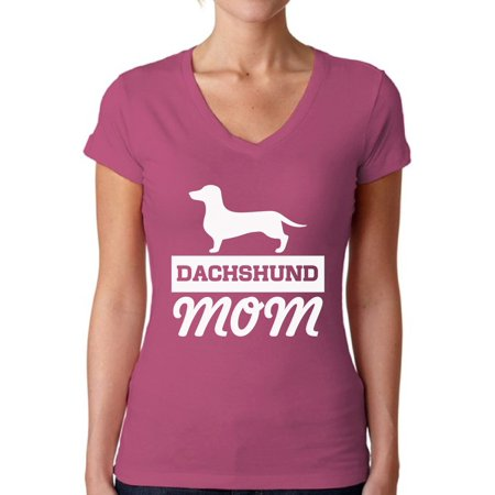 Awkward Styles Women's Dachshund Mom Dog Lover V-neck T-shirt Dachsie (Mod Suits For Sale)